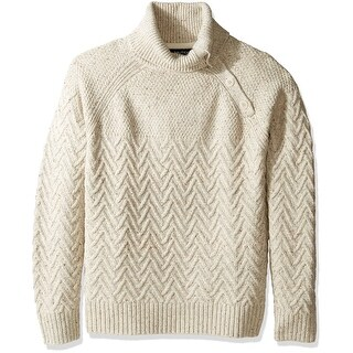 Nautica NEW Beige Mens Size XL Herringbone Ribbed Turtleneck Sweater