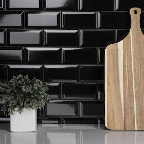 SomerTile 3 x 6-Inch Crown Heights Beveled Glossy Black Ceramic Wall Tile