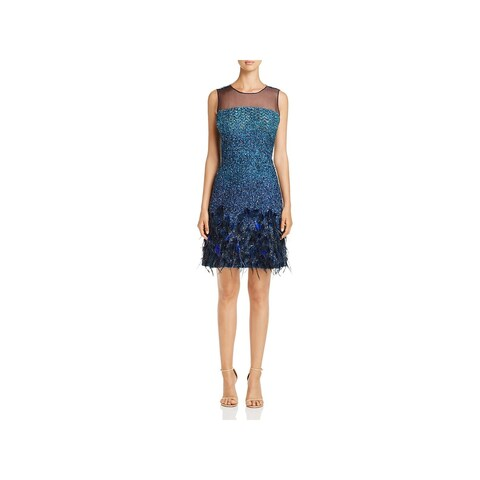 Elie Tahari Womens Anabel Cocktail Dress Embellished Feather