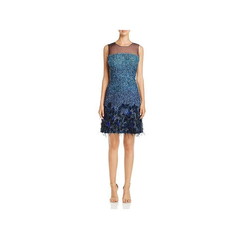 e01ca241071 Elie Tahari Womens Anabelle Cocktail Dress Embellished Feather