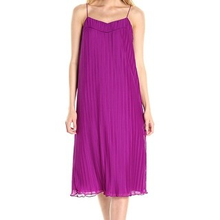 Maggy London Womens Pleated Chiffon Shift Dress
