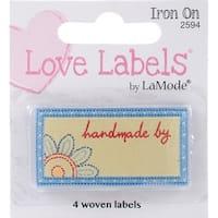 Iron-On Lovelabels 4/Pkg-Handmade By - Blue