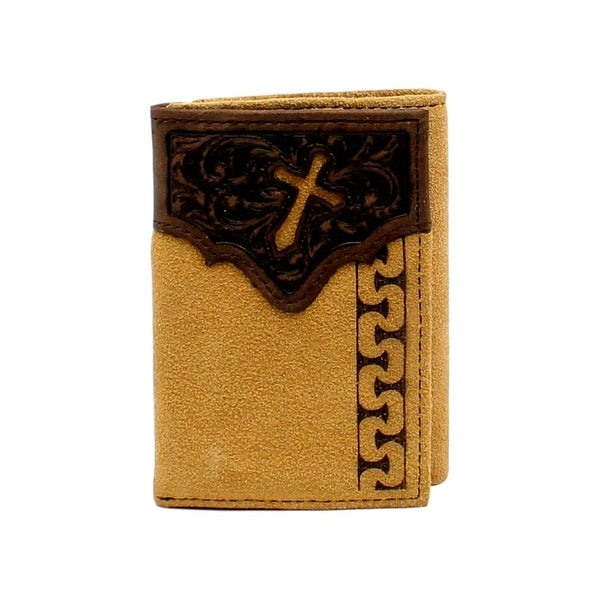 Ariat Western Wallet Mens Trifold Cross Cutout Slots Natural - One size