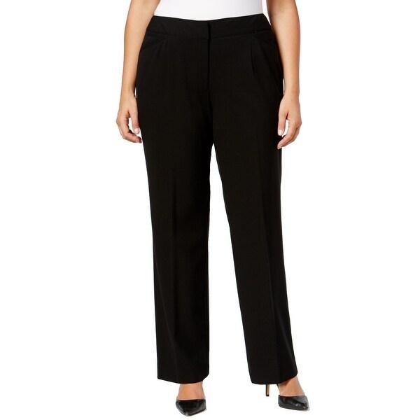 71e01290c49 Shop Tahari ASL Black Womens Size 20W Plus Flat-Front Dress Pants ...