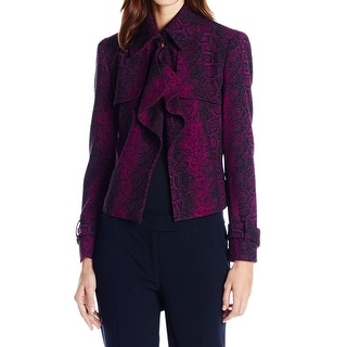Anne Klein NEW Red Womens Size 16 Draped Snakeskin Jacquard Jacket