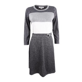 Calvin Klein Women's Belted Metallic Colorblocked Sweater Dress