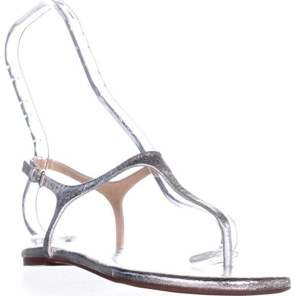 Splendid Mason Buckle T Strap Flat Sandals, Silver