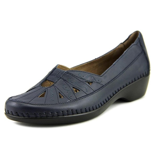 Easy Spirit Dixiee Women W Round Toe Leather Blue Loafer