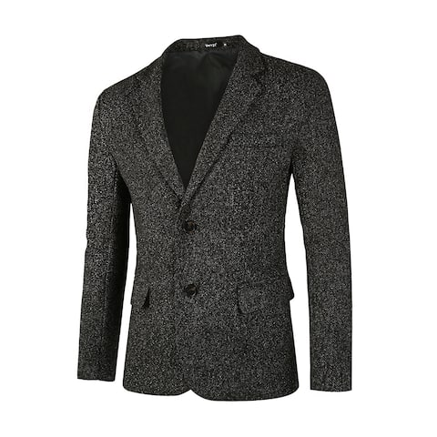 Men Classic Blazer Casual Tailored Fit Notch Lapel Two Button Sport Coat - Black White Melange