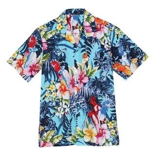 Men's Hawaiian Camp Shirt -Parrot Print Coconut Buttons - Blue