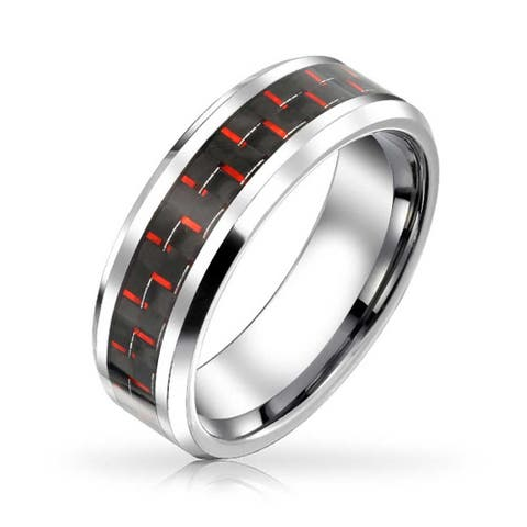 Classic Black Red Carbon Fiber Inlay Tungsten Comfort Fit Wedding Band Ring 8mm