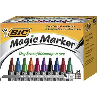 BIC Magic Marker Dry Erase Markers, Tank, Chisel Tip, Assorted Colors, Set of 24