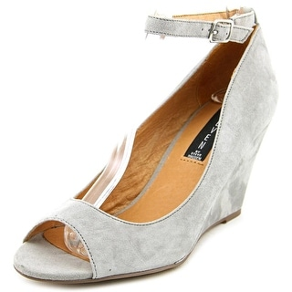 Steven Steve Madden Precius Women Open Toe Suede Gray Wedge Heel