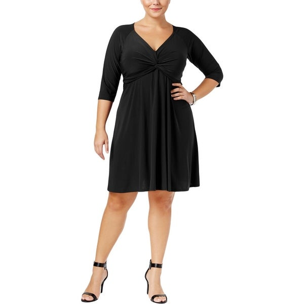 Love Squared Womens Plus Cocktail Dress Knotted Fit & Flare
