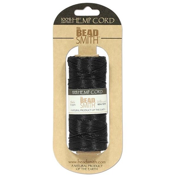 Beadsmith Natural Hemp Twine Bead Cord Black Color 1mm / 197 Feet (60 Meters)