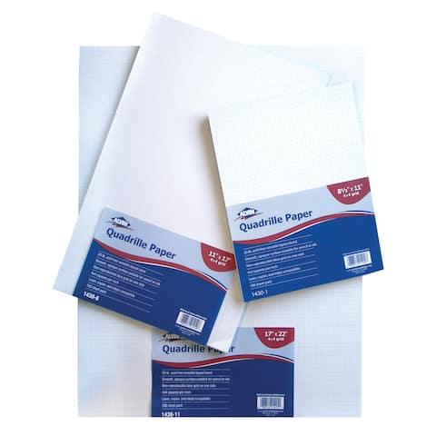 Alvin 1430-11 quadrille paper 4x4 grid 100-sheet pack 17 x 22