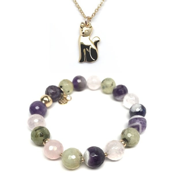 Purple Amethyst Mix Bracelet & Cat Gold Charm Necklace Set