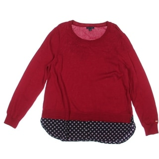 Tommy Hilfiger Womens Cotton Layered Pullover Sweater