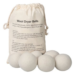 American Trading House Procizion Wool Dryer Balls - Natural Fabric Softener Alternative and Wrinkle Reducer - 6 Pack - Off-white