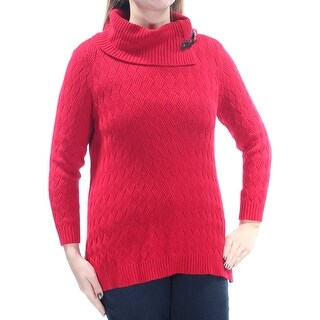 CHARTER CLUB $69 Womens New 1744 Red Turtle Neck 3/4 Sleeve Casual Sweater L B+B