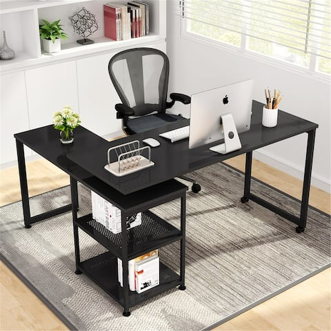 L-Shaped Computer Desk, Reversible Free Rotating Office Desk with Storage Shelf