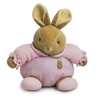 Baby Bow Plush Stuffed Rattle Bunny in Pink by Russ