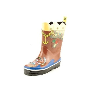 Kidorable Pirate Youth Round Toe Synthetic Brown Rain Boot