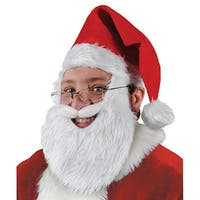Pack of 6 Plush Santa Hat with Beard and Mustache Christmas Costume Accessories - Red