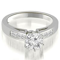 0.80 cttw. 14K White Gold Channel Set Princess Cut Diamond Engagement Ring