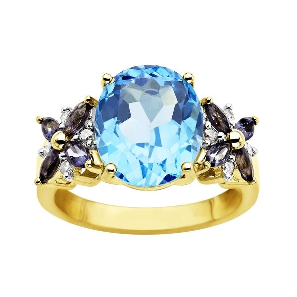 5 1/2 ct Swiss Blue Topaz and Iolite Ring in 14K Gold with Diamonds