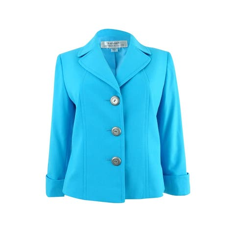 Tahari ASL Women's Cuffed Three-Button Blazer - Capri Blue