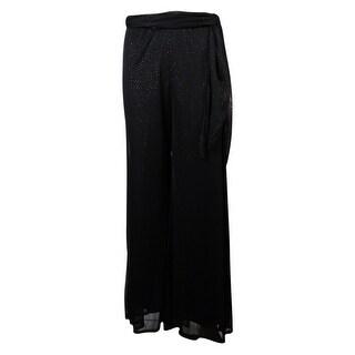 Onyx Nite Women's Belted Wide Leg Glitter Chiffon Pants - Black