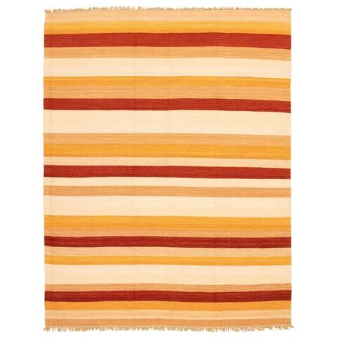 ECARPETGALLERY Flat-weave Kalista Ivory, Red Wool Kilim - 7'9 x 9'8