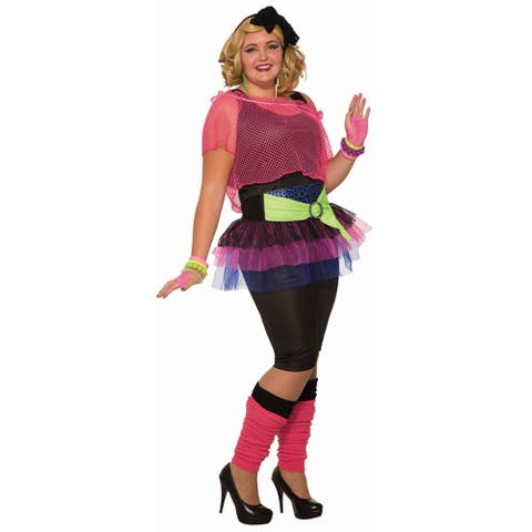 Womens 80s Girl Plus Size Halloween Costume - Plus Size (size 16-22)