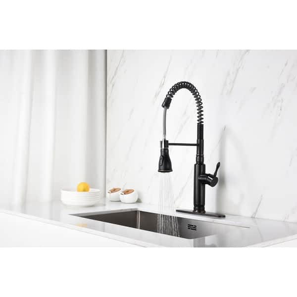 Commercial Kitchen Sink Faucet With Pull Down Sprayer High Arc Fit Deck Plate Single Handle Industrial Style Oil Rubbed Bronze Overstock 31606395