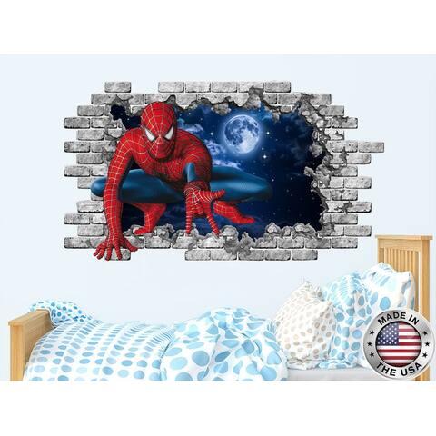 Spiderman Hole in the Decal Superhero Vinyl Sticker Murals
