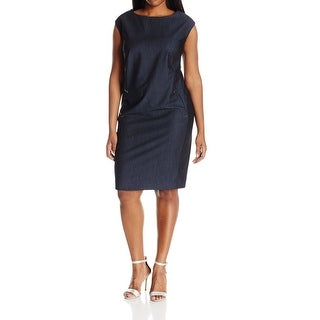 Calvin Klein Blue Womens Size 20W Plus Cap Sleeve Shift Dress