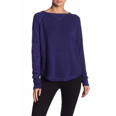 Sweet Romeo Womens Blue Size XS Ribbed Trim Curved Hem Crewneck Sweater