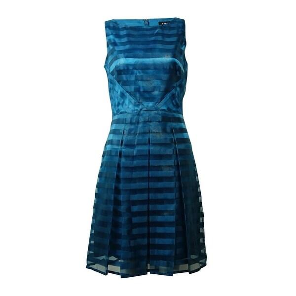 Tahari Women's Shadow Stripe Fit & Flare Dress