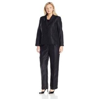 Le Suit Plus Size Two-Button Striped 3pc Cami Jacket Pant Suit - 20W