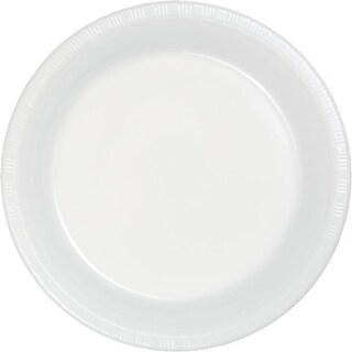 Club Pack of 240 White Disposable Plastic Party Banquet Plates 10.25""