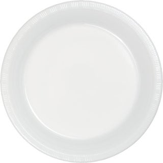 Club Pack of 600 White Disposable Plastic Party Dinner Plates 7""