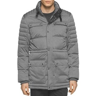 Calvin Klein Mens Hooded Insulated Waterproof Down Jacket Large L Silver