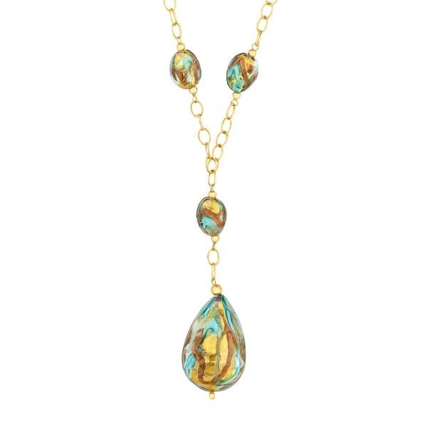 Murano Glass Drop Necklace in 14K Gold-Bonded Sterling Silver