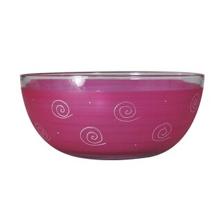 """Pink and White Swirls and Dots Hand Painted Glass Serving Bowl 11"""""""