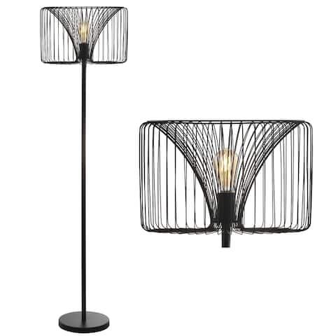 "Gridley 61"" Metal LED Floor Lamp, Black by JONATHAN Y - 61"" H x 16"" W x 16"" D"