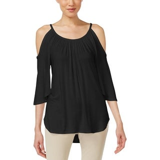 Karen Kane Womens Casual Top Pleated Cold Shoulders