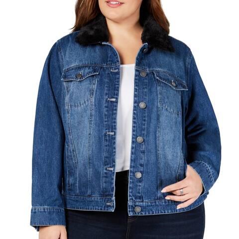 Style & Co. Women's Blue Size 16W Plus Faux-Fur Collar Denim Jacket