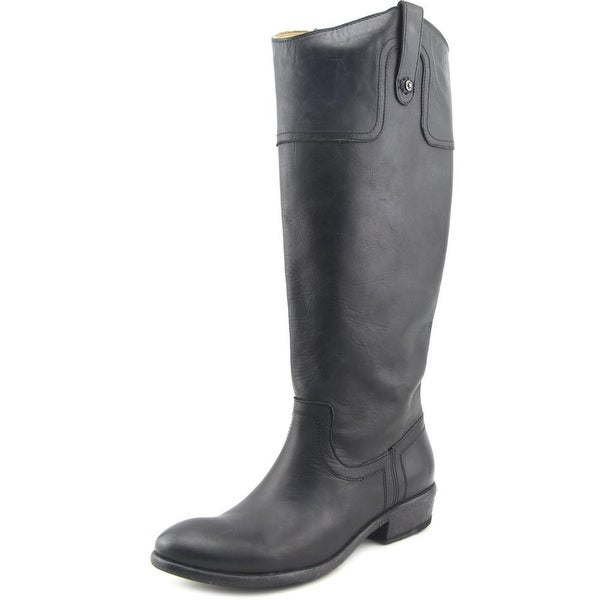 Frye Carson Riding Boot Wide Calf Women Round Toe Leather Black Knee High Boot