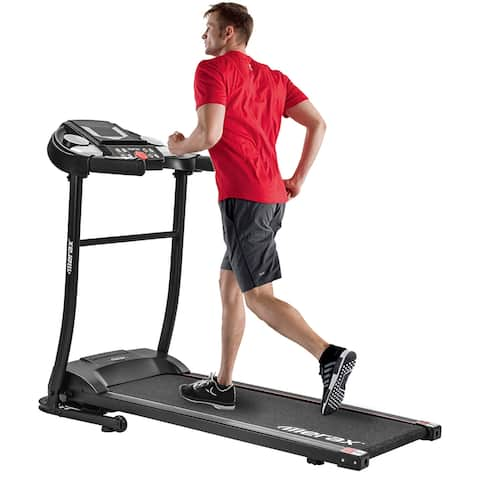 Merax Folding Electric Treadmill Motorized Running Machine, 12 Programs with Transporation Wheels